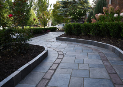 bordered walkway front yard residential