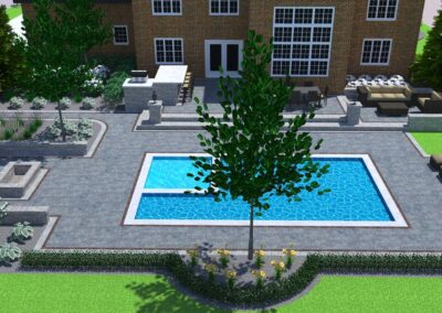 backyard landscape with pool 3D design