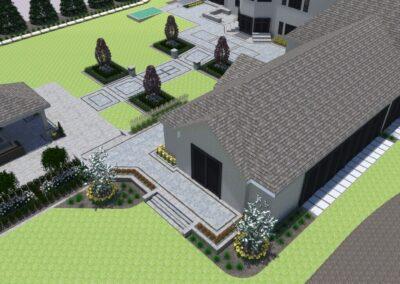 birdeye view of landscape design residential