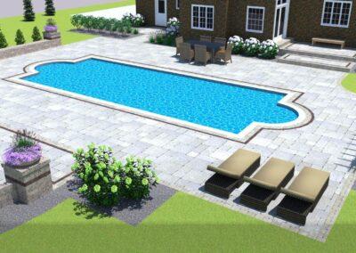 backyard pool with paver design