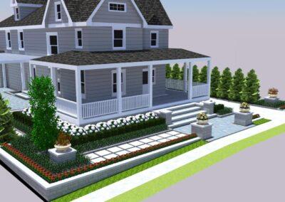 wraparound porch front yard design